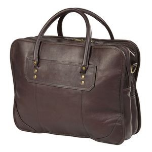 Top Handle Gusset Leather Laptop Briefcase