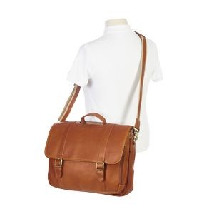 Leather Flap Gusset Laptop Briefcase