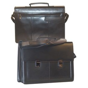 Leather Flap-Over Computer Briefcase